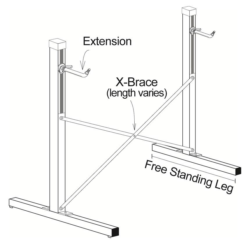 Freestanding ballet barre Frame diagram