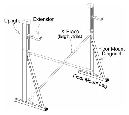 Alvas Floor Mount Ballet Barre Frame Instructions 4-10ft Diamgram