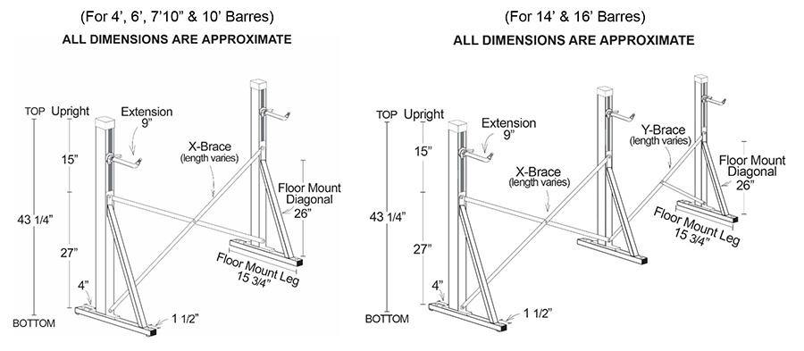 Alvas Floor Mount Ballet Barre Frame Specs Diagram