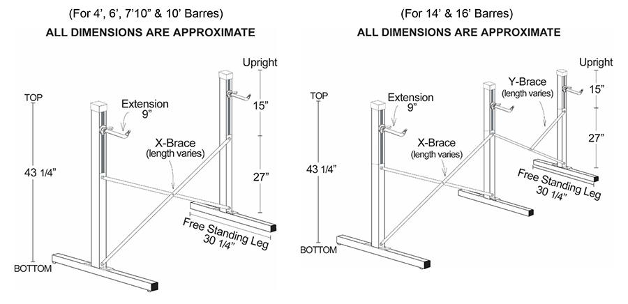 Alvas Freestanding Ballet Barre Frame Specs Diagram