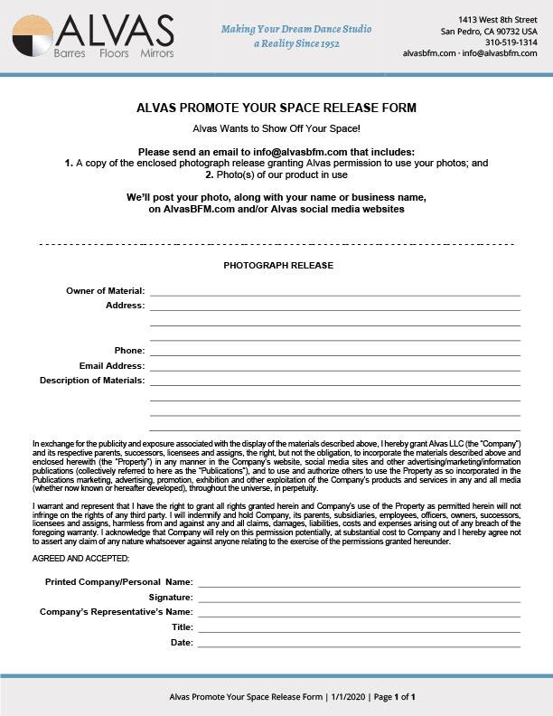 Alvas Promote Your Space Release Form