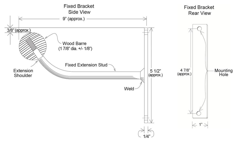 wall mount fixed barre bracket specifications