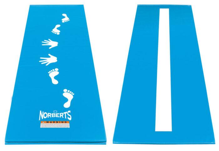 Norberts light blue cartwheel beam mat, front and back