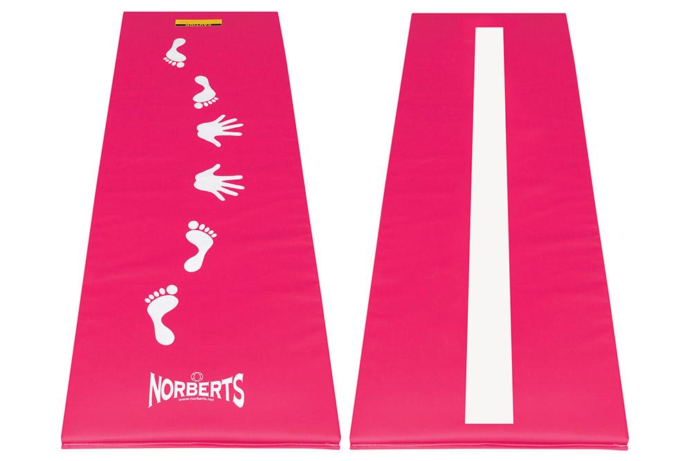 Norberts pink cartwheel beam mat, front and back