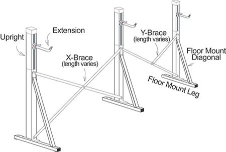 Floor Mount Ballet Barre Frame diagram